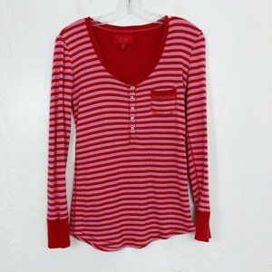 VS Red & Pink Striped Long Sleeve Waffle Knit Top